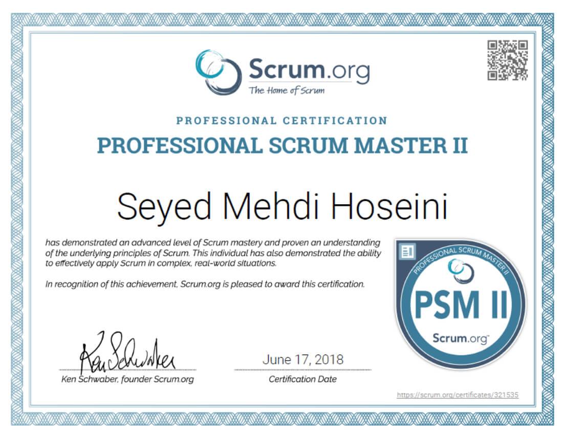 Professional Scrum Master II Certificate