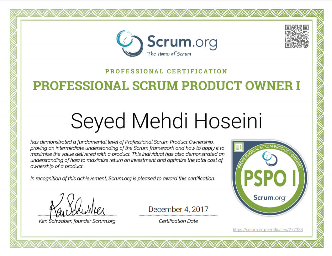 Professional Scrum Product Owner Certificate
